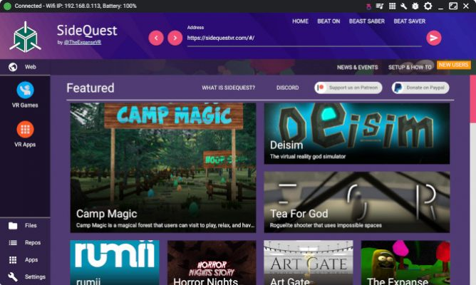 Oculus Quest Sidequest Main Screen