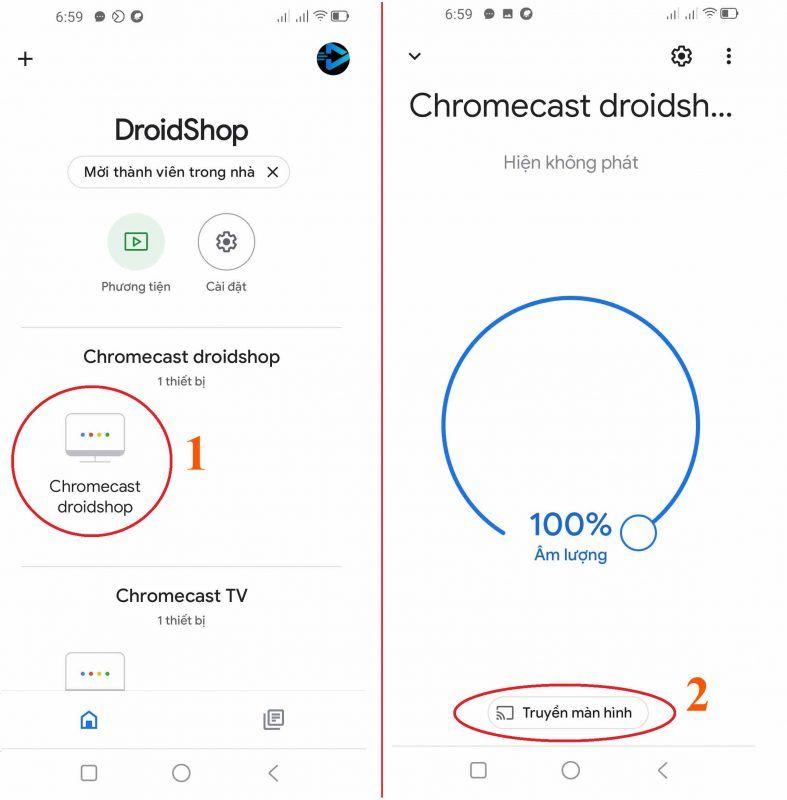 Truyền Màn Hình điện Thoại Lên Chromecast